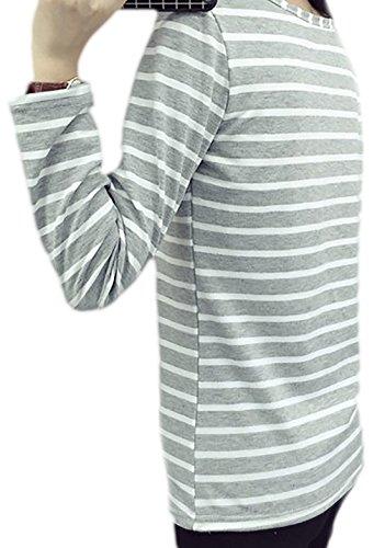 erdbeerloft - Damen Casual Fashion Langarmshirt, gestreift mit Aufdruck, 36-44, Viele Farben Grau