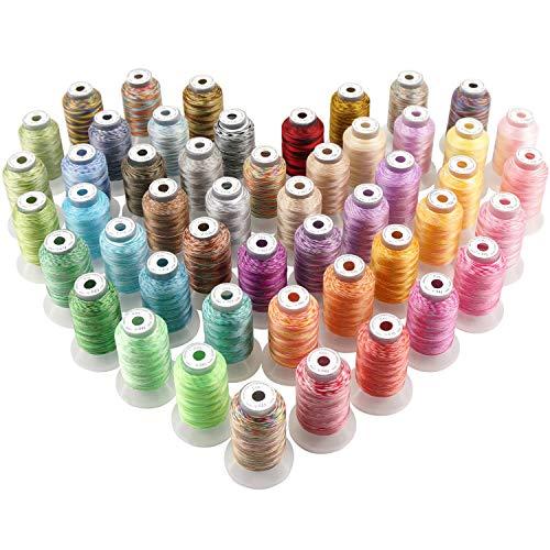 Multi Polyester (New brothread 50 Multi Farben Polyester Maschinen Stickgarn 500M (550Y) für Brother/Janome/Singer/Babylock/Kenmore/Pfaff/Bernina/Husqvaran Stickereimaschine)