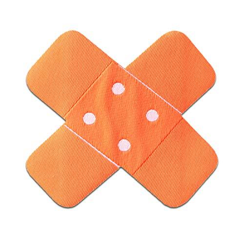 Aufnäher/Bügelbild - Pflaster Flicken - neon orange - 7x7cm - Patch Aufbügler Applikationen zum aufbügeln Applikation Patches Flicken (Neon-orange Kissen)