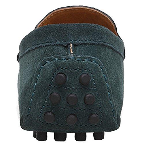 ZEROLING Herren Lederne Schuhe Suede Loafers Zang Blau
