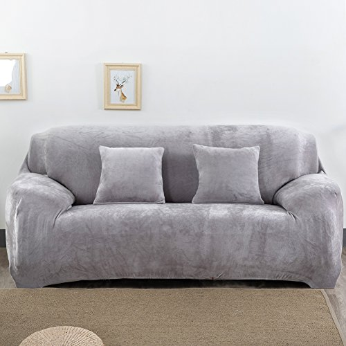Dicke Sofaüberzüge, 1/2/3/4-Sitz-Überwurf, Sofa Schutzüberzug aus Samt. einfache Passform, Stretch-Material, Couch-/Bettüberwurf, hellgrau, 2 Seater:145-185cm (Zwei Sitz Couch)
