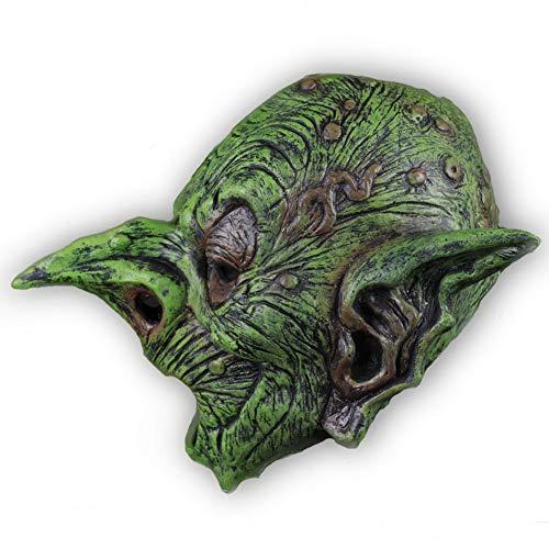 XIAO RUI Alter Mann lustige Maske grün Elf Alten Kopf Latexmaske Kapuze Maskerade Party Requisiten, (grün) geeignet für Kopfumfang 58-63cm