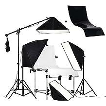 PMS 60x130cm Mesa para estudio fotográfico + Softbox 4 x 50x70cm - Ventana de Luz para fotografía: iluminación continua