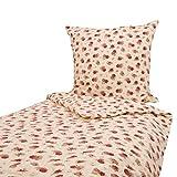 Bügelfreie Bettwäsche 135x200 und 80x80 cm Rote Rosen auf Creme Baumwolle Seersucker RV Blumen Garnitur Bettbezug