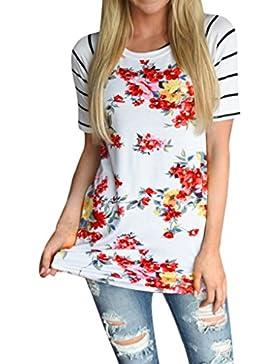 Tongshi Mujeres De Manga Corta Tops Flor Impresa Blusa Casual Camiseta de Rayas