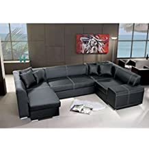 JUSTyou Vera Bis Sofá esquinero chaise longue de piel ecológica Negro 72 x 194-155 x 323 cm Brazo izquierdo