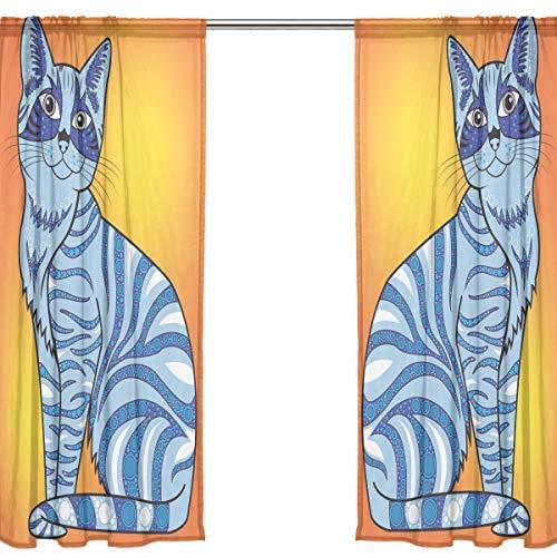Orediy Vorhang aus Voile, transparent, 2 Paneele, Ethno-Katzen, 40{cb736a6d9a70315779c086119bb290f4d99b43926ee81719ea39570d676d1b29} Verdunkelungsstab, Lange Gardine, Fensterbehandlung, Schlafzimmer, Wohnzimmer-Dekor, Polyester, Multi, 2 * 140W x 213 H