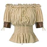Viktorianische Baumwolle Smocked Taille Frauen Tops Khaki Größe XL