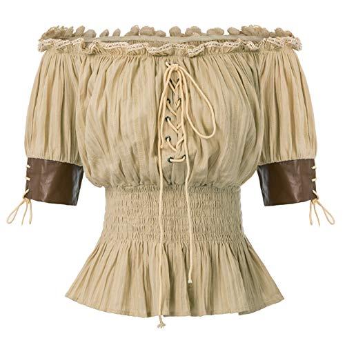 Kostüm Das Piraten - Belle Poque Mädchen Halbe Ärmel Retro Vintage Schulterfrei Tops Khaki Größe M