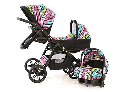 Double pram for twins. 2 carrycots + 2 buggies + 2 car seats. Multicolour. BBtwin Berber Carlo Directly from the factory, warranty and advice. Made un the EU according to the regulations EN1888 and ECE44/04. Multicolour. Includes 2 carrycots, 2 buggy seats, 2 car seats, bag, 2 footcovers, 2 rain covers, 2 mosquito nets, lower basket. Features: lightweight aluminium frame, easy bending, adjustable handlebar, central brake, lockable front swivel wheels, shock absorbers, each buggy can be instaled independently in both directions, carrycots with a mattress and a washable cover, backrest adjustable in various positions, safety bar and harness of 5 points 9