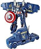#9: GoMerryKids Superhero Captain America Autobots Transformers Car Deformation Avengers Action Figure Toy