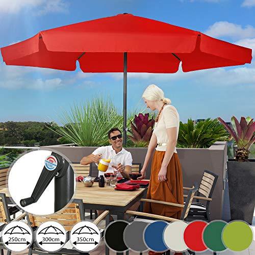 Sonnenschirm in Ø 2,5m / 3m / 3,5m - Farbwahl, Wasserabweisender Schirmbezug,mit Krempe und Kurbel, aus Stahlrohr - Marktschirm, Gartenschirm, Terrassenschirm, Ampelschirm, Strandschirm, Sonnenschutz