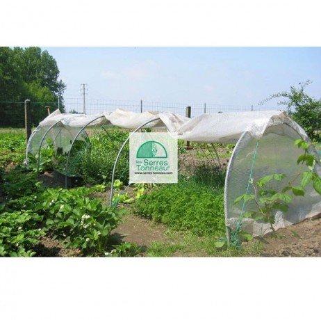 Serre Chenille de jardin- Largeur 1m30- Pvc armé Robustex 400 microns- avec aération, Longueur 5 m