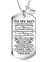 To My Son from dad I Want You To Believe Love Dad Dog Tag Military Air Force Navy Coast Guard Necklace Ball Chain Gift for Best Son Birthday Graduation
