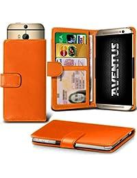 Aventus (Orange) Vodafone Smart Platinum 7 Universal Case Etui Housse Wallet Spring Clamp Premium Pu Cuir Avec Caméra Slide, Titulaire De La Carte De La Fente Et Billets Pocket