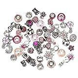 BIGBOBA 50 unids Mujeres DIY joyería Colgante Rhinestone Beads Pandora Pulsera Accesorio Collar Ornamento (Rosa roja)