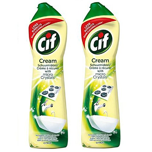 Cif Multi Purpose Cleaner with Cream and Micro Crystals Lemon, 500 ml – Pack of 2