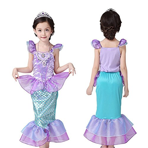 Mermaid tail Fancy Ruffle Sleeve Dresses for Girl Princess Christmas Party Dresses Ariel Bling Cosplay Costume