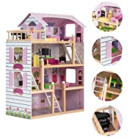 COSTWAY 4-Tiers Kids Dolls House with Apartment   Mansion Theme, 7 Different Scenes, W/ Ladder & Window, Eco-friendly Solid Wood, Mini Furniture Set, Role Play Game as Children