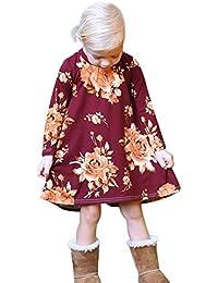 K-youth Vestidos Niña, Ropa Bebé Niña Manga Larga Niñas Se Visten Vestidos De Sol De Estampado Floral Vestido de Princesa Bebé Vestido Bebe Ceremonia Vestido Bebe Niña Bautizo