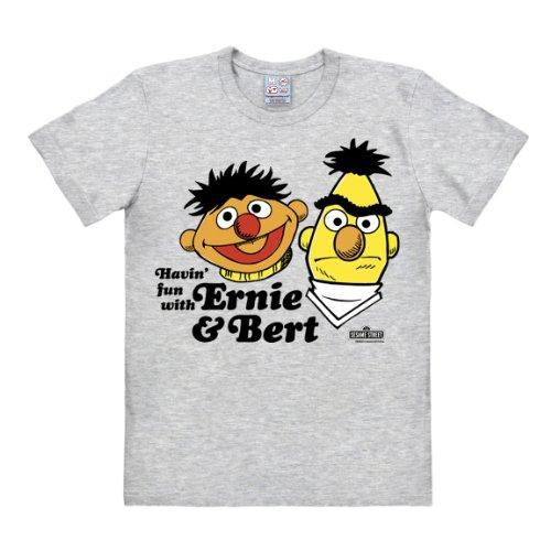Ernie -T-Shirt - Ernie und Bert Shirt - Havin' Fun - Sesamstrasse T-Shirt Original - Rundhals T-Shirt von Logoshirt - grau meliert - Lizenziertes Originaldesign, Größe M