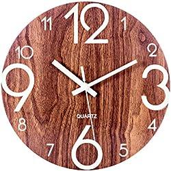 BANDRA Luminous Wanduhr 30CM Holz leise nicht tickende Wanduhren mit Nachtlichter für Küche Wohnzimmer Schlafzimmer Dekor batteriebetrieben Holz Farbe