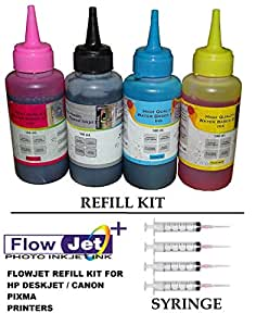 Flowjet #1 Best Quality Photo Quality Refill Ink Bottle Kit with 4nos Free Syringe and needles For Refilling Of HP 21 22 802 803 680 678 46 704 703 900 Inkjet Printer Cartridge For Accurate Printing