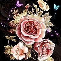 RoadRomao Bordado de Mariposa Rosa Bricolaje Costura Diamantes completos Pintura 5D Plateada