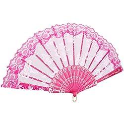 Generic Süßen Stil Faltfächer Handfächer mit Spitze, Rosenblüten, Für Sommer Gelegenheiten, Gartenfeste, Hochzeiten im Freien, Tuch dekorieren, usw. - Rosarot