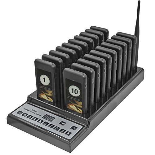 Tragbare Wireless Calling Paging System 999 Kanal Restaurant Coffee Shop Guest Paging queuing Calling system mit 20 Pager Lasten und Charging Dock, B (Wireless Paging System)