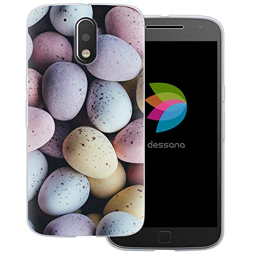dessana Candy Süßigkeiten Transparente Schutzhülle Handy Case Cover Tasche für Motorola Moto G4 Plus Oster Eier
