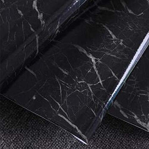 Wanbor Home Decoration Wall Stickers, Granite Marble Texture Background Backdrops Effect Contact Wallpaper Studio Self Adhesive Peel Stick Rolling Paper(Black) (Peel-stick Vinyl)