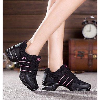 Männer und Frauen Tanzschuhe weiche Unterseite erhöhte Nettooberfläche erhöhte weiche untere quadratische Tanzschuhe weibliche Fitness s Black