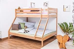 Lit superposé / lit de jeu LUKAS hêtre naturel massif avec échelle en biais, sommiere déroulable inclus