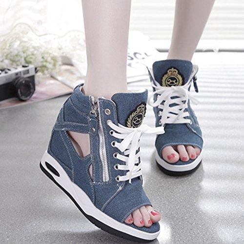 Oasap Femme Sneakers Casual Bout Ouvert Canevas Talons Compensé Bleu Clair