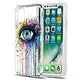 Eouine Coque iPhone XS, Coque iPhone X, Etui en Silicone 3D Transparente avec Motif Peinture [Anti Choc] Housse de Protection Coque pour Téléphone Apple iPhone XS/X - 5,8 Pouces (œil)