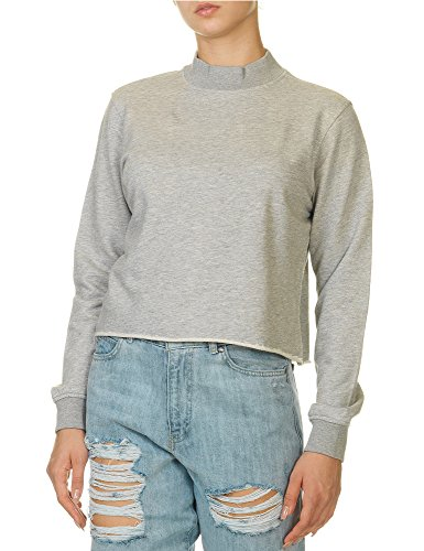 dr-denim-jeansmakers-womens-aileen-top-cropped-buttoned-sweater-in-size-l-grey