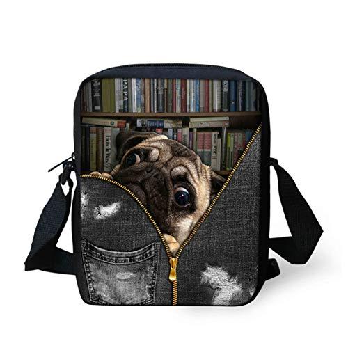 Niedlichen Tier Mops-Hund Mini Schultertasche Junge Crossbody Beutel für Kinder Kinder-Qualitäts Kleine Handtaschen -