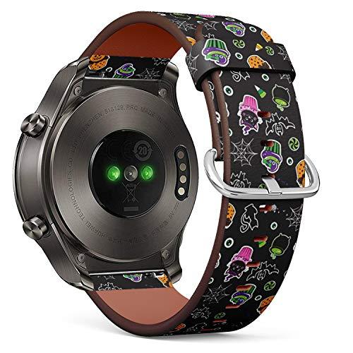 mit Huawei Watch 2 Classic - Leder-Armband Uhrenarmband Ersatzarmbänder mit Schnellverschluss (Happy Halloween Cupcakes süße Elemente) ()
