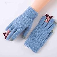 XIAOYAN Handschuhe Student Cartoon Herbst Und Winter Finger Handschuhe Frau Stricken Touchscreen Dicke Warme Grau Rosa Rose rot Blau Bequem