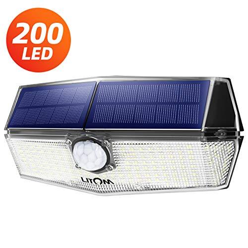 200 LED LuciSolariEsterno,【2019 Ultimi Modelli 】Luce Solare Sensore con Movimento Esterna 3 Modalità di Illuminazione, Impermeabile IPX7, 270ºIlluminazione Lampada Solare per Giardino