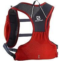 Salomon Mochila ligera para running 3L, agile 2  set, rojo y gris (Graphite)