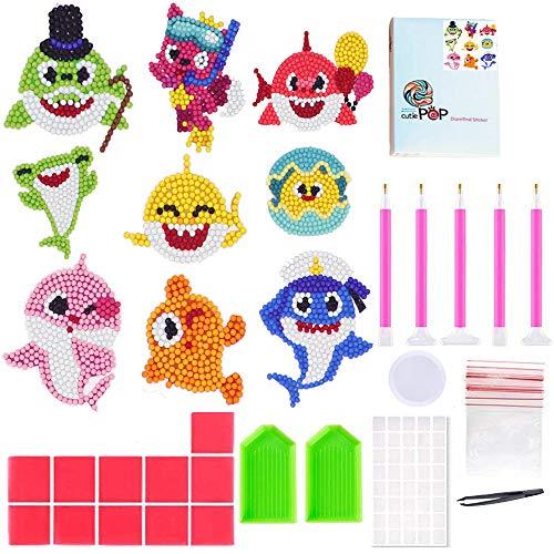 5D Diamant Maler-Kits für Kinder Baby Hai DIY Diamant Dot Kits Zeichnen Werkzeuge Kristall Mosaik-Aufkleber nach Zahlen Kits Kunst und Handwerk Set für Kinder (Paint Marker Maler,)