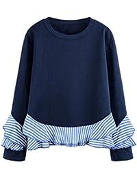 Moda Otoño Primavera De las mujeres Camisetas, Vovotrade Volante fruncido Dobladillo ondulado Manga larga Sudaderas Cuello Casual Blusa