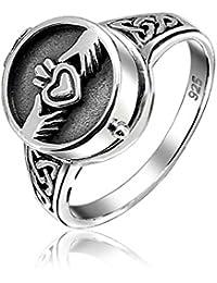 Bling Jewelry Sterling Silver Claddagh Ring veneno Medallón Corazón grabado gratis