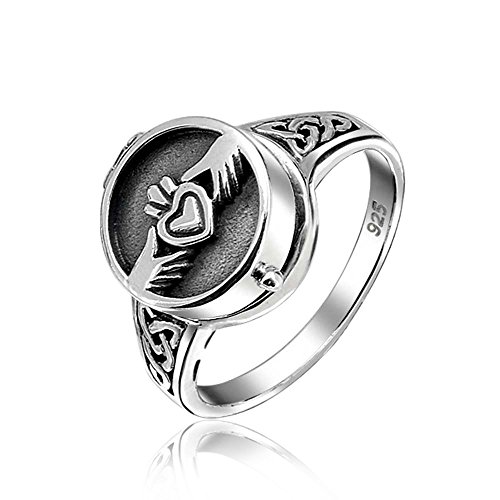 Bling Jewelry Sterling Silver Claddagh Heart Locket Poison Ring