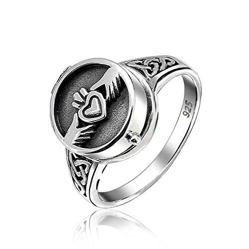 Keltische Irische Freundschaft Paare Herz Medaillon Claddagh Ringe Für Herren Für Damen Sterling Silber Oxidiert