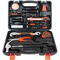 Hardware Juego de herramientas de mano Conjunto de regalo para el hogar Juego de combinaciones Caja de herramientas Herramienta de reparación Acero de alto carbono (Color : Black)