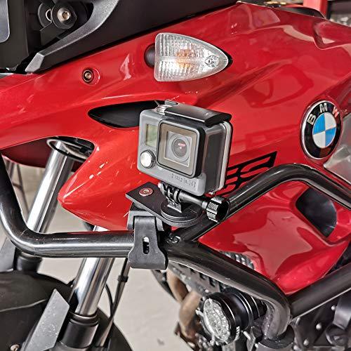 Universal Kamerahalterung Motorrad Fahrrad Für GoPro Hero 7/2018 / 6/5 / 4/3, Activeon, A-Rival, DBPOWER, Garmin, QUMOX, Tomtom Action Cam (für Rundrohre, drehbar, vibrationsfrei)