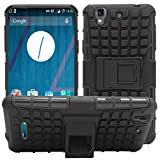 Trifty Defender Tough Hybird Armour Shockproof Hard PC + TPU With Kick Stand Rugged Back Case Cover For Micromax Yureca - Black